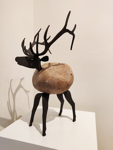 Marcellus Elk - Fieldstone and Iron Sculpture by artist Charles Adams and Thomas Widhalm