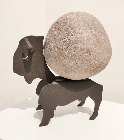 Julius the Bison - Fieldstone and Iron Sculpture by artist Charles Adams and Thomas Widhalm