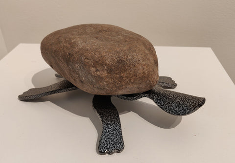 Julia Turtle - Fieldstone and Iron Sculpture by artist Charles Adams and Thomas Widhalm