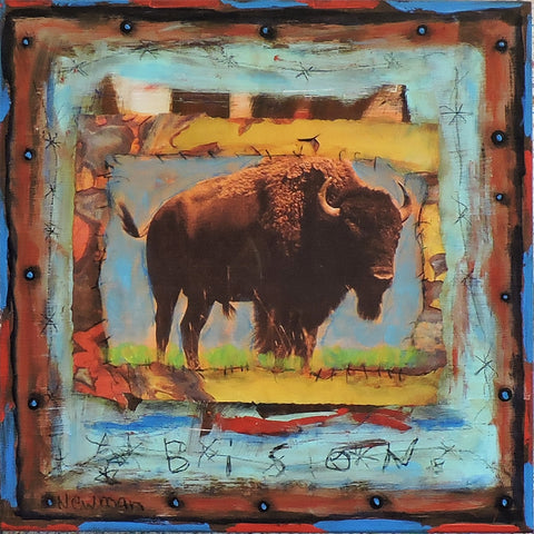 Bison Series  - Mixed Media Collage by artist Dave Newman