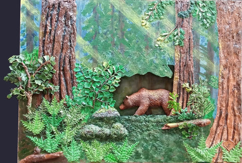 Deep Woods - Acrylic /Mixed Media Sculpture by artist Ellen Hart