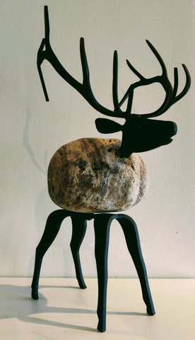 Agtha Elk - Fieldstone and Iron Sculpture by artist Charles Adams and Thomas Widhalm