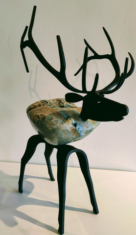 Adonis Elk - Fieldstone and Iron Sculpture by artist Charles Adams and Thomas Widhalm