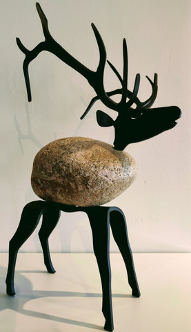 Atticus Elk - Fieldstone and Iron Sculpture by artist Charles Adams and Thomas Widhalm