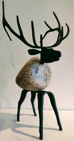 Artimus Elk - Fieldstone and Iron Sculpture by artist Charles Adams and Thomas Widhalm