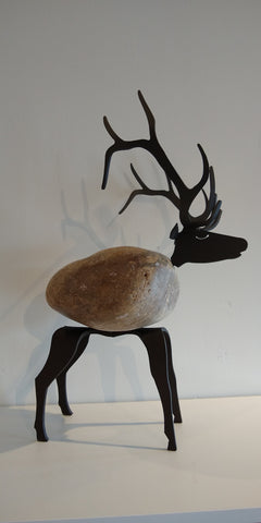 Ambrose Elk - Fieldstone and Iron Sculpture by artist Charles Adams and Thomas Widhalm
