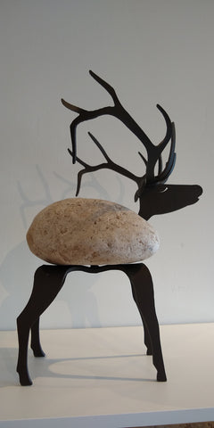 Aristotle Elk - Fieldstone and Iron Sculpture by artist Charles Adams and Thomas Widhalm