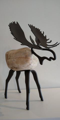 Montegue Moose - Fieldstone and Iron Sculpture by artist Charles Adams and Thomas Widhalm