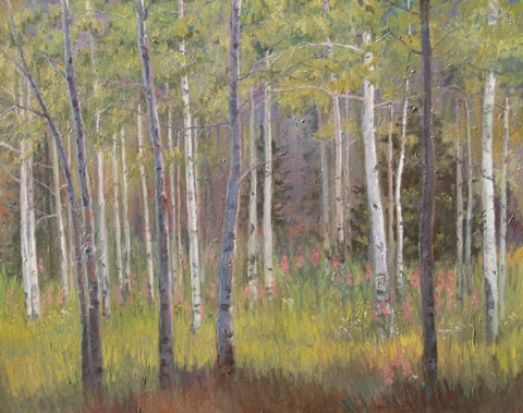 Aspens in Afternoon Shadow - Oil Paintings by artist John Horejs