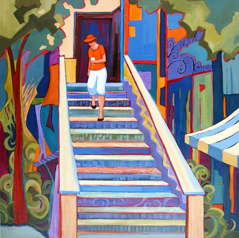 Coffee Shop Stairs - Acrylic Paintings by artist Carolee Clark