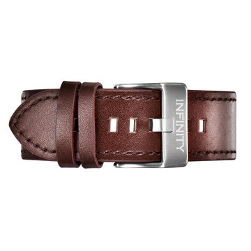 BROWN LEATHER + SILVER BUCKLE