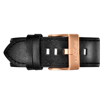 BLACK LEATHER + RG BUCKLE
