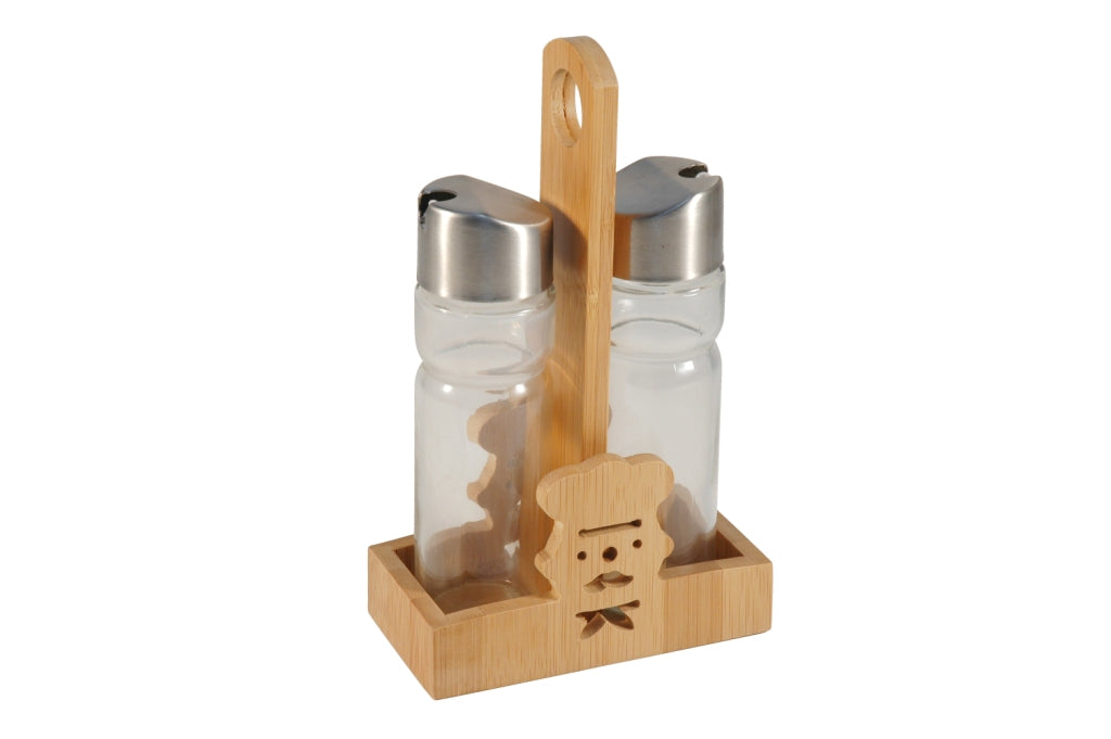 ACEITERA SET 2 MADERA CRISTAL 13X7X23 CHEF NATURAL