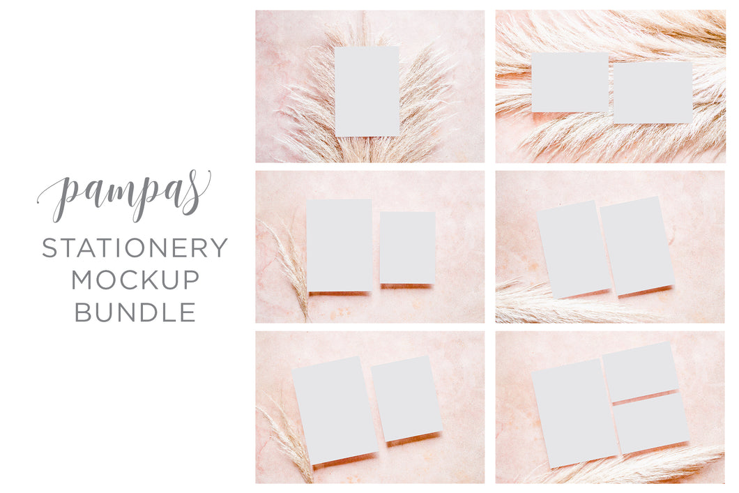 50% OFF Pampas Stationery Mockup Bundle