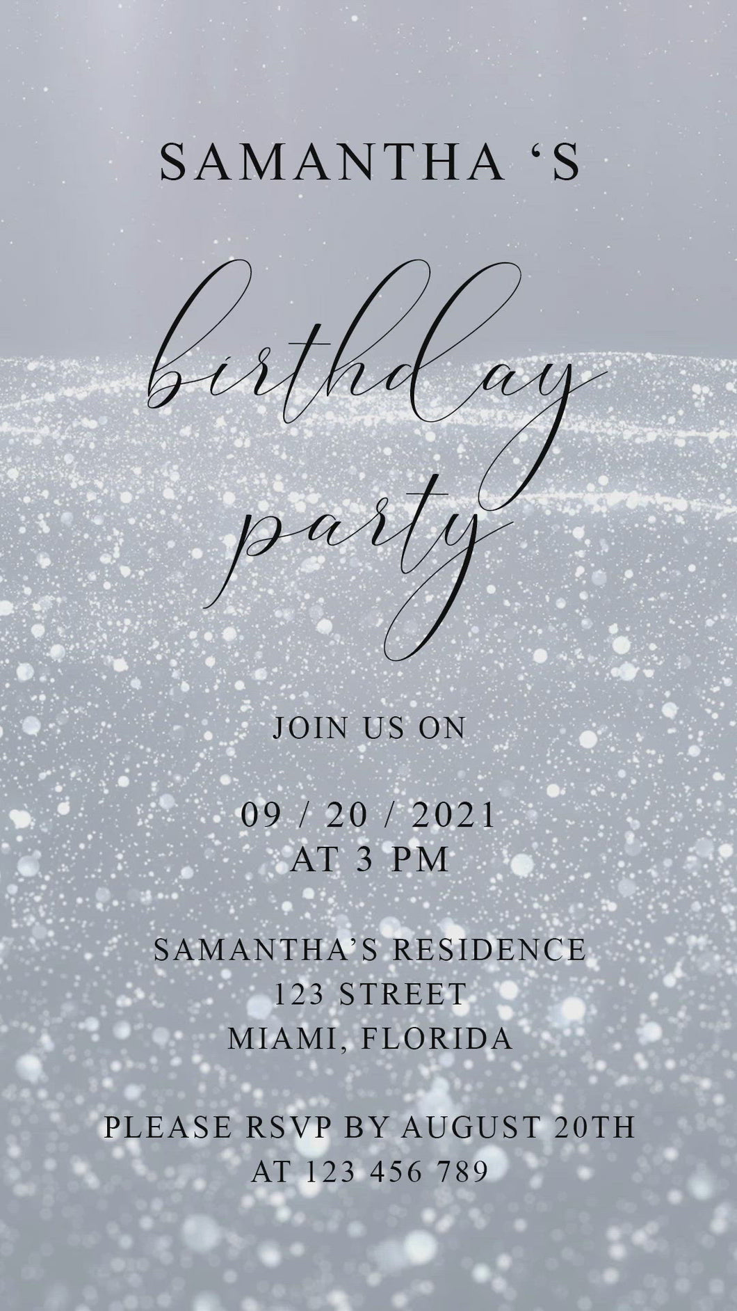 Instant Download Silver Glitter Birthday Video Evite, Electronic Invite, Birthday Video Invitation, Animated Invitation