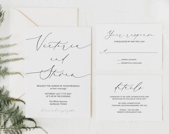 Calligraphy Wedding Invitation, Elegant Wedding Invite, Printed Wedding Invitation Set