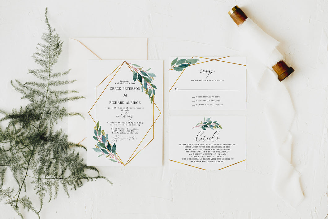Greenery Wedding Invitation, Elegant Wedding Invite, Printed Wedding Invitation Set, Gold Wedding
