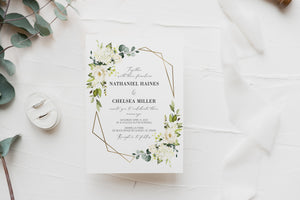 Greenery Wedding Invitation Printed Gold Geometric Frame with Ivory Flowers Invites
