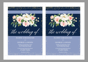 Printable Floral Navy Blue Wedding Invitation Set Editable Template, DIY Instant Download Invites, Invitation Suite PDF - Eloise