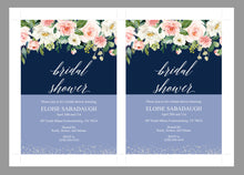 Load image into Gallery viewer, Navy Blue Bridal Shower Invitation Instant Download Printable Editable Template DIY Bridal Shower Inviter  - Eloise