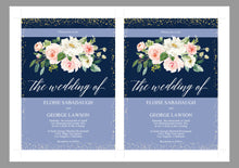 Load image into Gallery viewer, Navy Blue Floral Wedding Invitation Editable Template, Printable DIY Instant Download Invites, Digital Download Invitations-Eloise