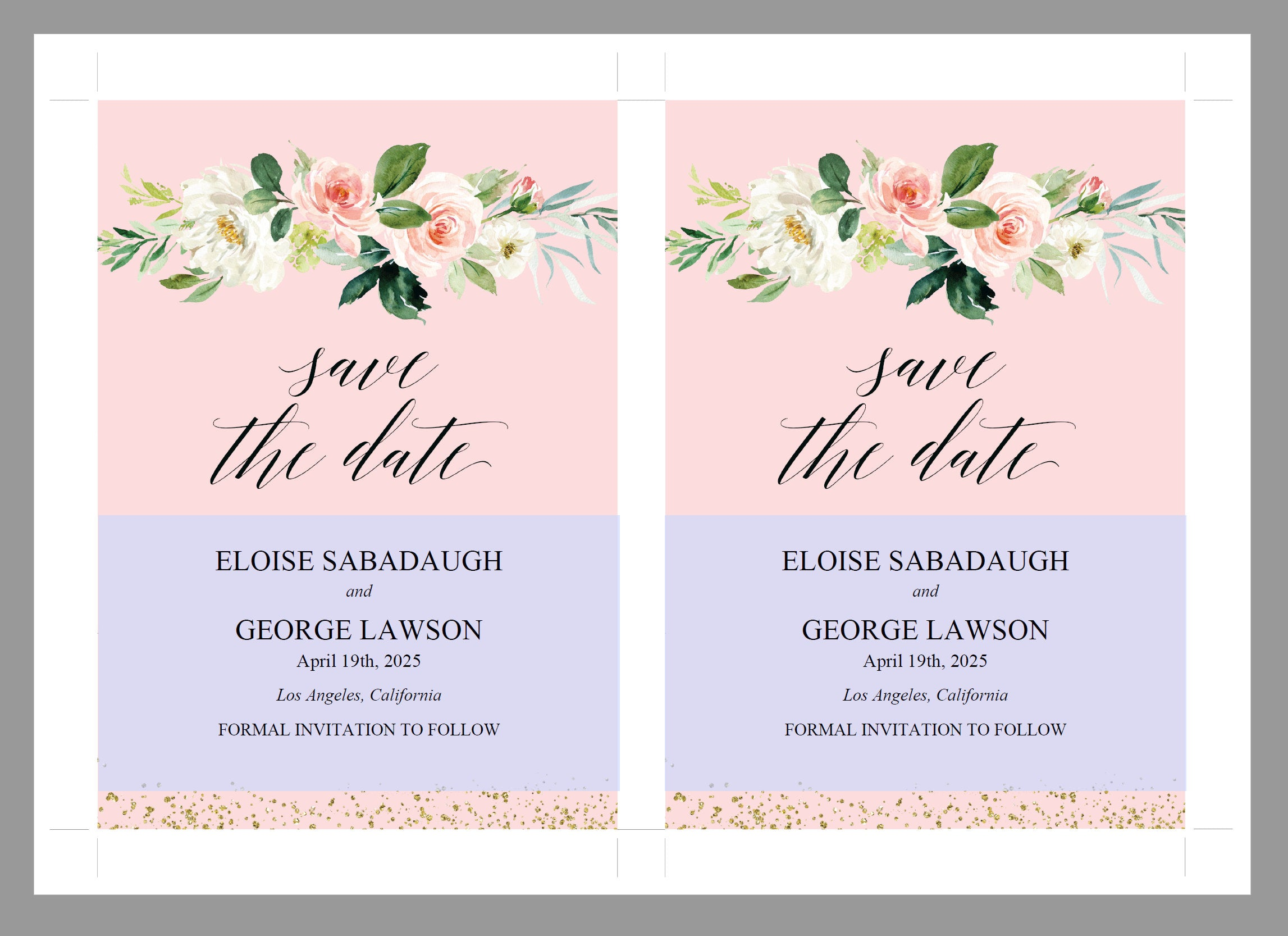 Printable Save-the-Date Template, Engagement Invite, PDF Instant Download, Greenery, Wedding Announcement, Blush, Gold  - Eloise