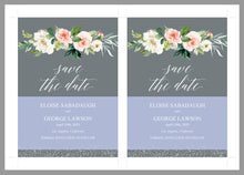 Load image into Gallery viewer, Printable Save-the-Date Template, Engagement Invite, PDF Instant Download, Greenery, Floral, Wedding Announcement  - Eloise