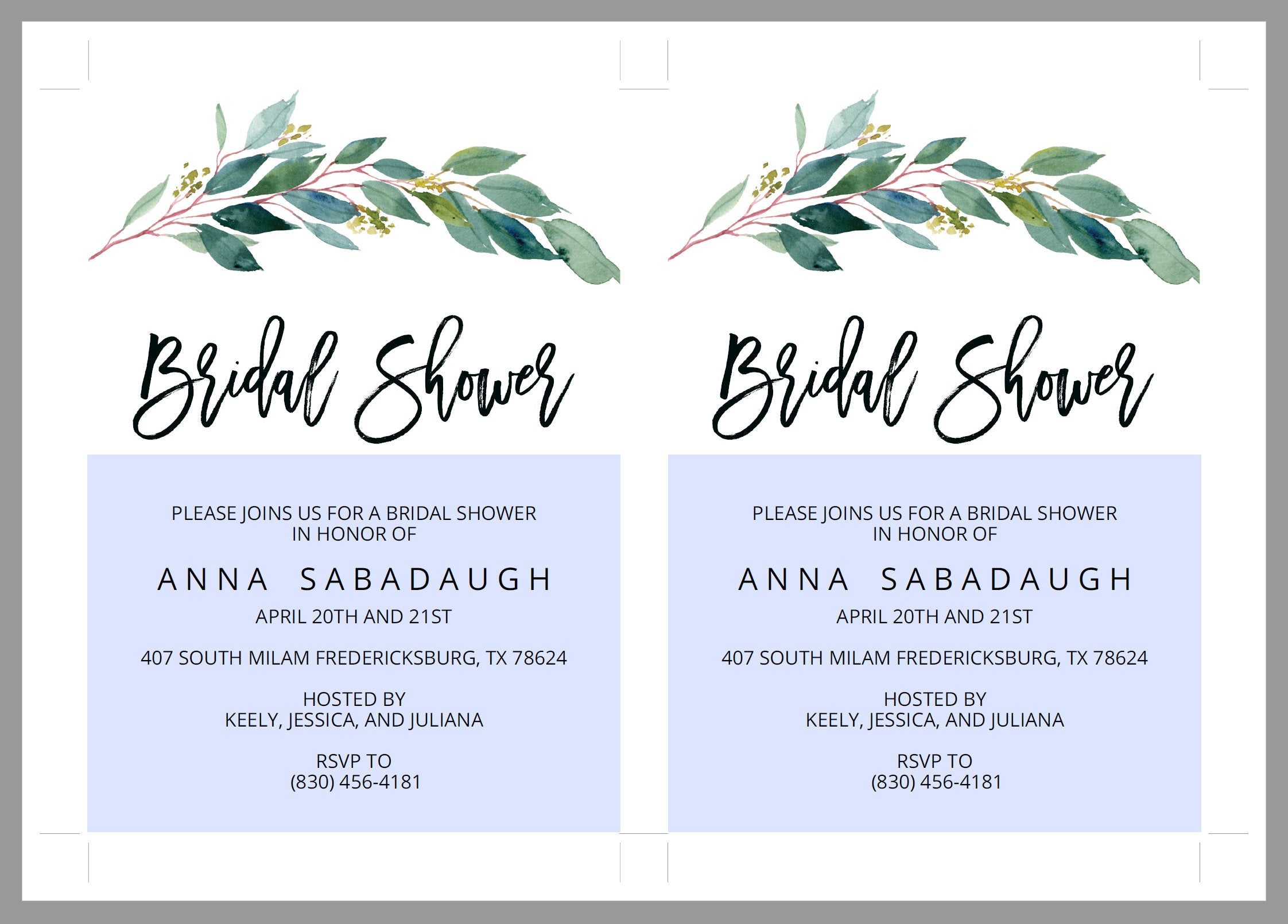 Greenery Bridal Shower Invitation Instant Download Printable Editable Template DIY Bridal Shower Invite - ANNA