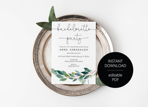 Greenery Watercolor Bachelorette Party Invite,Bride to Be,Itinerary,Printable Invitation,Instant Download,Printable Wedding - ANNA