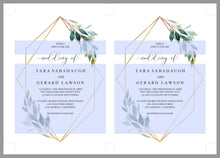 Load image into Gallery viewer, Greenery Wedding Invitation Set Template,Printable Wedding Invitation,Geometric Gold Wedding,Instant Download,Editable Invitation- TARA