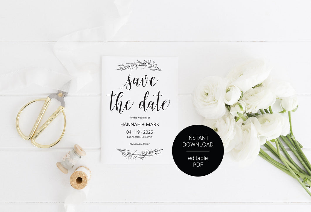 Printable Save-the-Date Template, Engagement Invite, PDF Instant Download, Wedding Announcement, Rustic  - Hannah