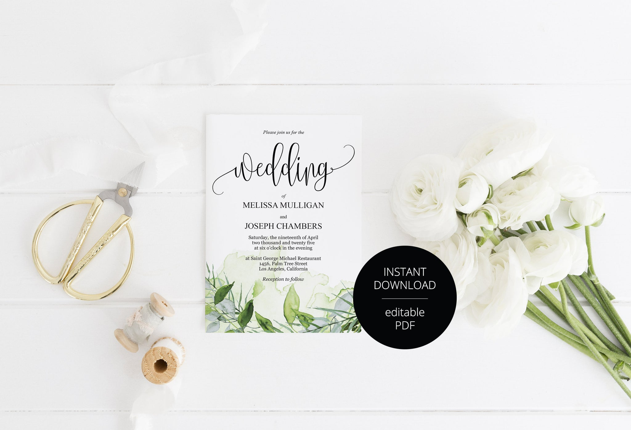 Greenery Wedding Invitation Editable Template, Printable DIY Instant Download Invites, Digital Download Invitations- Melissa