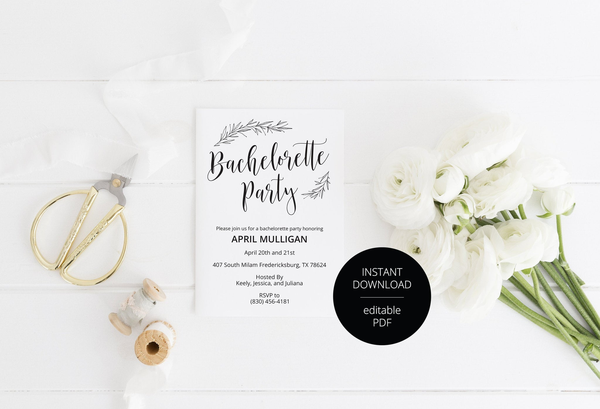 Rustic Bachelorette Party Invite, DIY Editable Instant Download Bachelorette Invites, Minimal Invitation Template - APRIL