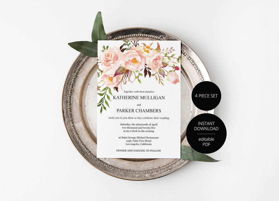Printable Blush Floral Wedding Invitation Set Editable Template, DIY Instant Download Invites, Invitation Suite- Katherine