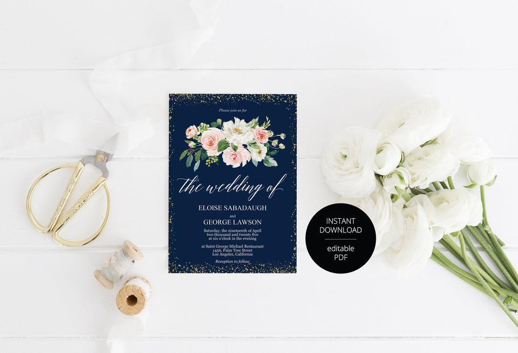 Navy Blue Floral Wedding Invitation Editable Template, Printable DIY Instant Download Invites, Digital Download Invitations-Eloise