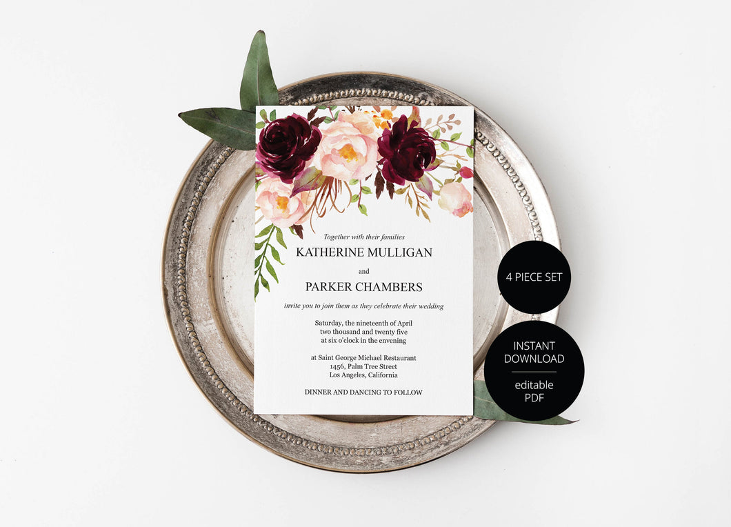 Printable Burgundy Floral Wedding Invitation Set Editable Template, DIY Instant Download Invites, Invitation Suite - Katherine