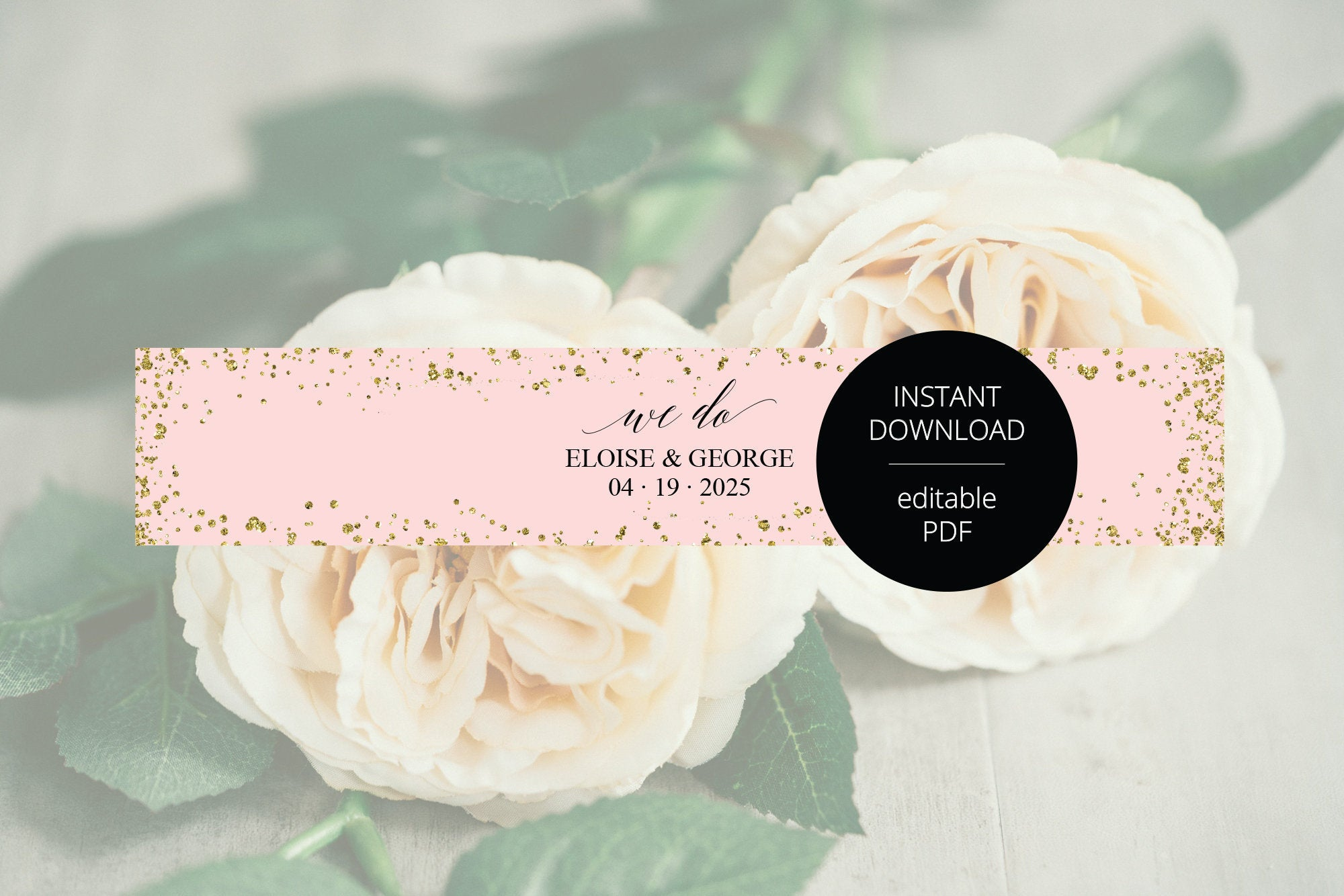 "Blush Gold Wedding Invitation Suite Belly Band Template, Printable Pink Glitter Wedding Invites Band, 2x11"", DIY PDF Instant Download-Eloise"