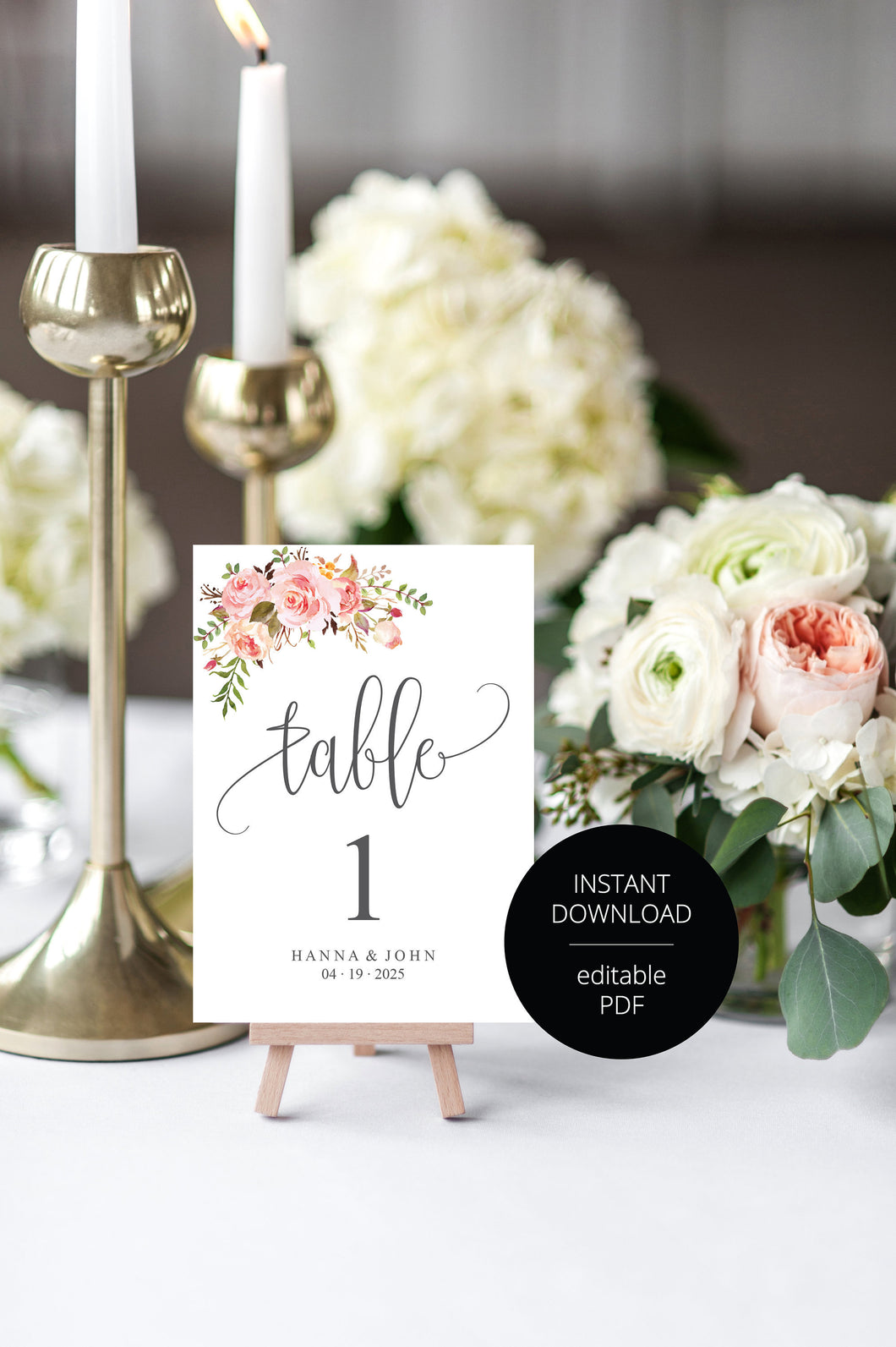 Floral Wedding Table Number, Wedding Table Printable, Numbers Printable, Instant Download, DIY Table Numbers, Table Number Cards  - HANNA