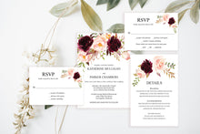 Load image into Gallery viewer, Printable Burgundy Floral Wedding Invitation Set Editable Template, DIY Instant Download Invites, Invitation Suite - Katherine
