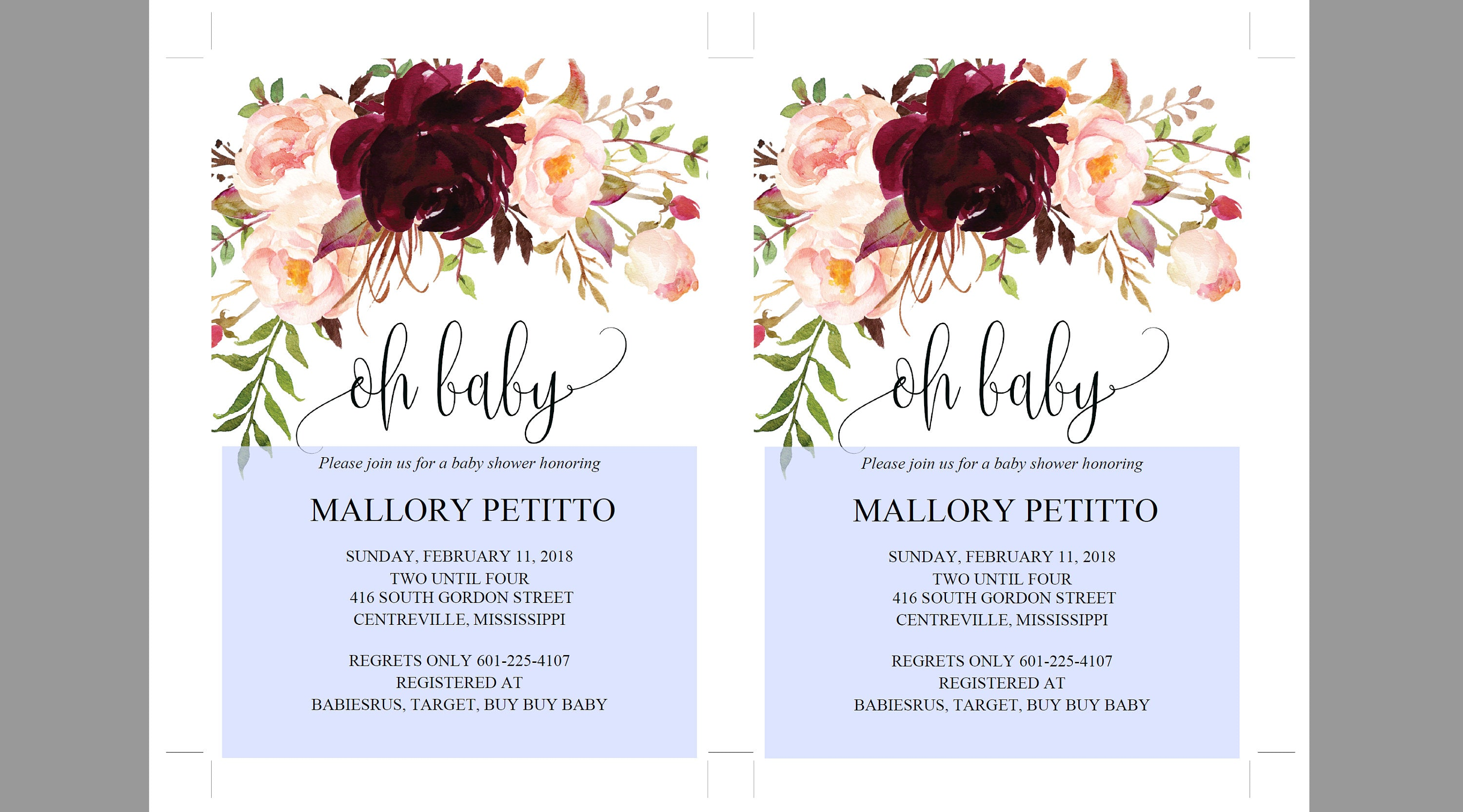 Printable Baby Shower Invitation Template, Oh Baby, Baby Shower invite, Invitation, Baby Shower Invites,Invite, Burgundy - MPU78