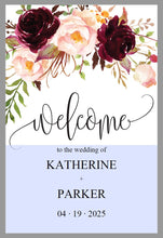 Load image into Gallery viewer, Printable Burgundy Floral Wedding Welcome Sign Editable Template Instant Download -KATHERINE