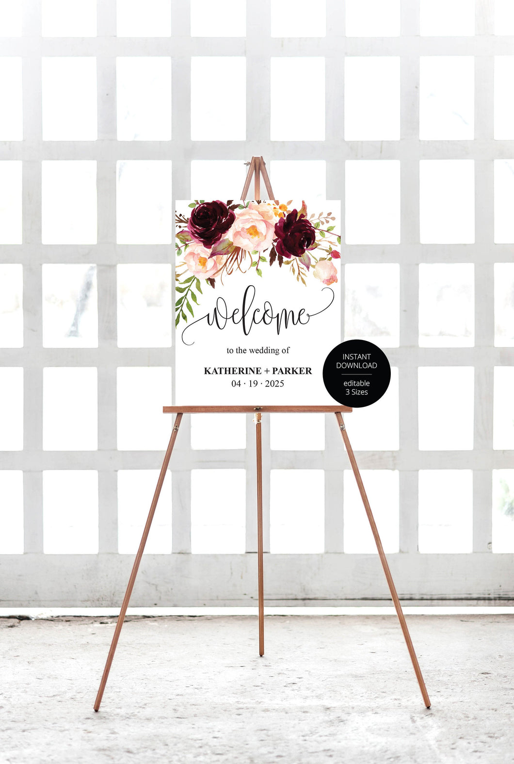 Printable Burgundy Floral Wedding Welcome Sign Editable Template Instant Download -KATHERINE