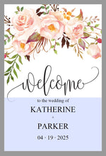 Load image into Gallery viewer, Printable Blush Floral Wedding Welcome Sign Editable Template Instant Download -KATHERINE