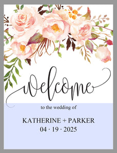 Printable Blush Floral Wedding Welcome Sign Editable Template Instant Download -KATHERINE