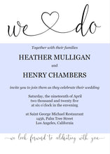 Load image into Gallery viewer, We Do Wedding Invitation Template, Editable Wedding Invitation Template, Printable, Calligraphy, Instant Download, Heart - Heather