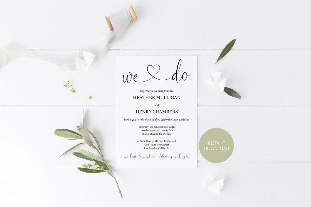 We Do Wedding Invitation Template, Editable Wedding Invitation Template, Printable, Calligraphy, Instant Download, Heart - Heather