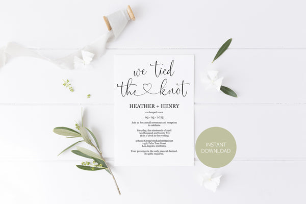 We tied the knot Wedding Invitation Template, Editable,Printable, Calligraphy, Heart, Wedding Announcement, Elopement, we eloped - Heather