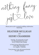 Load image into Gallery viewer, Nothing Fancy just Love Wedding Invitation Template, Editable,Printable,Calligraphy,Heart,Wedding Announcement,Elopement,we eloped - Heather