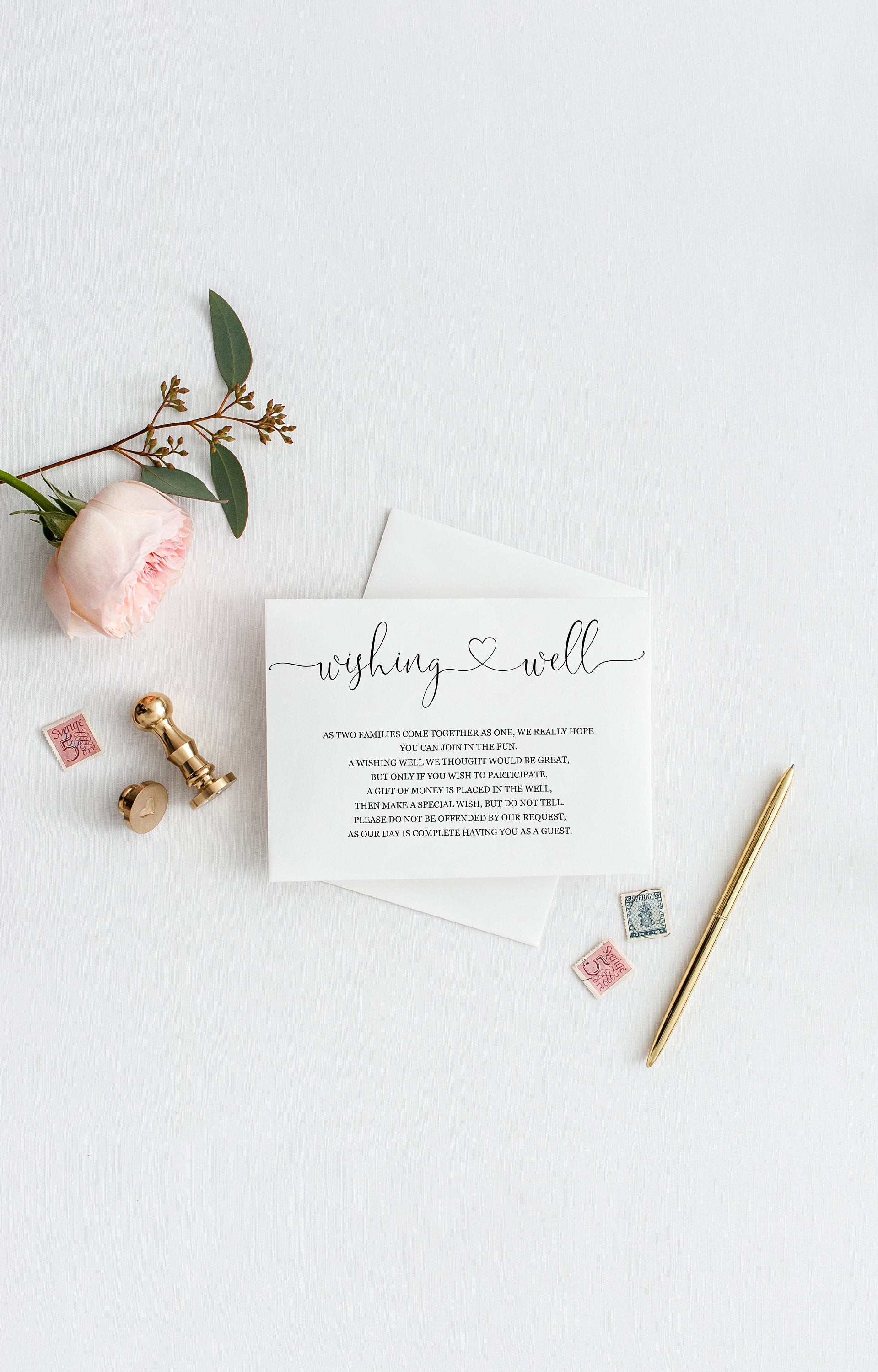 Simple Wedding Wishing Well Card Template,Instant Download, Editable Wishing, Wishing well Cards Insert, Calligraphy,Rustic,Heart  - Heather