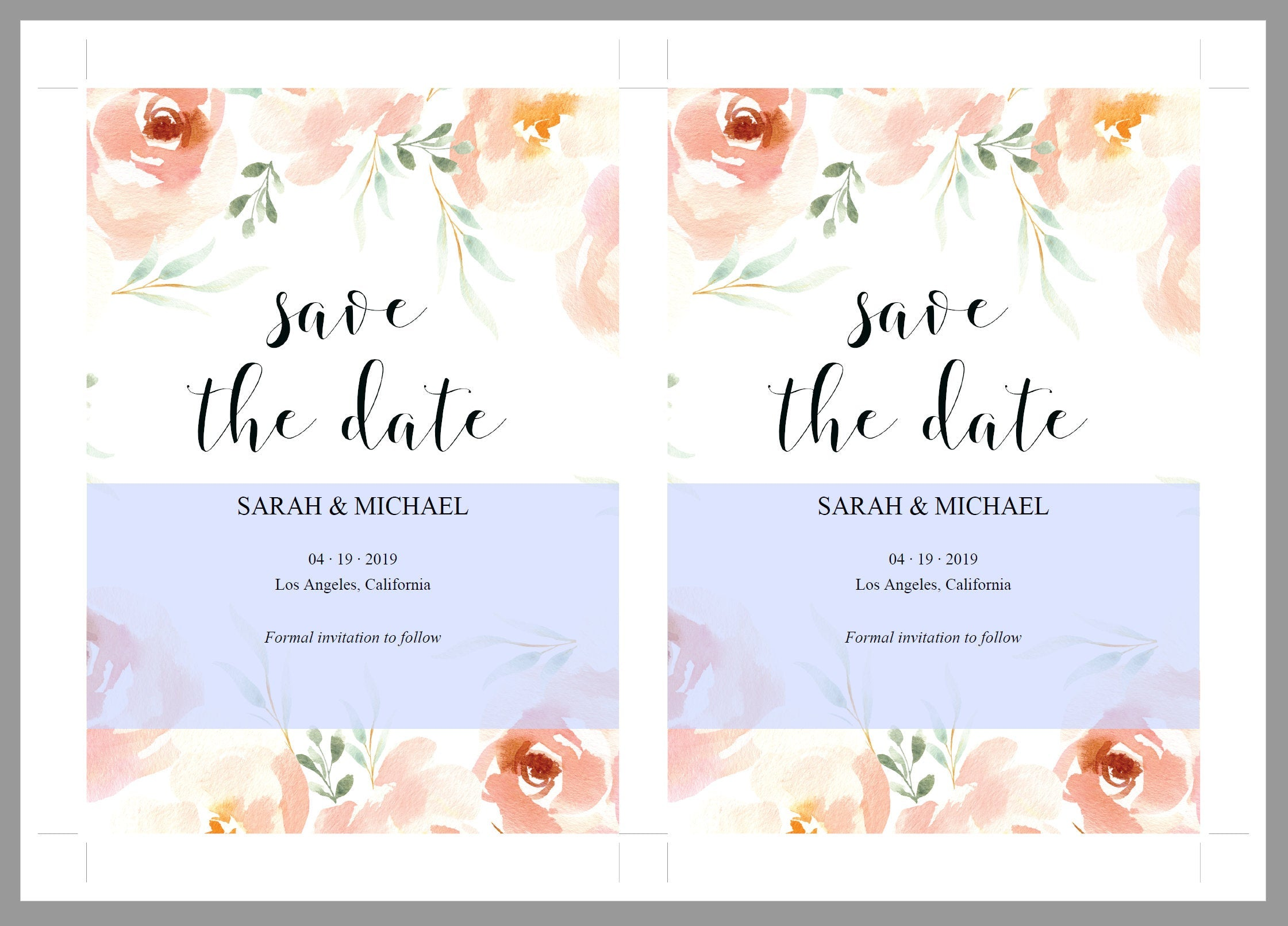Printable Save-the-Date Template, Engagement Invite, PDF Instant Download, Blush Florals, Wedding Announcement  - Sarah